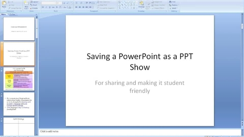Thumbnail for entry Saving PowerPoint as a Show