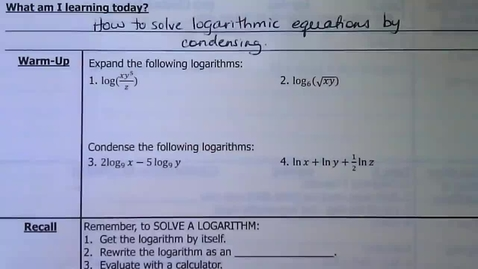 Thumbnail for entry 06 - Guided Notes - Solving Logarithms by Condensing