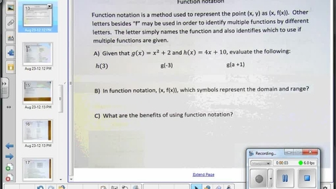 Thumbnail for entry Characteristics of relations and functions lesson part 2  9-3-2014
