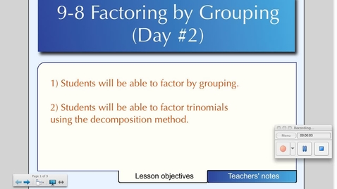 Thumbnail for entry 9-8 Factoring by Grouping (Day # 2) - The Decomposition Method