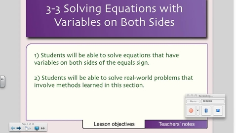 Thumbnail for entry 3-3 Equations with Variables on Both Sides