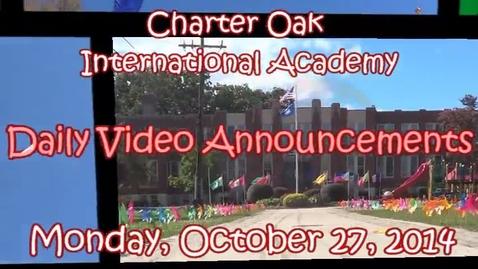 Thumbnail for entry October 27, 2014 Announcements Lusianna, Devin, Jaylen, Jordan