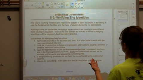 Thumbnail for entry Precalculus Section 5-2 Verifying Trig Identities