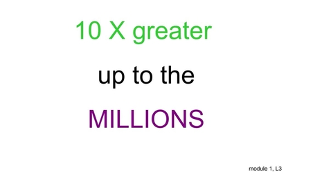 Thumbnail for entry Place value to millions, X 10