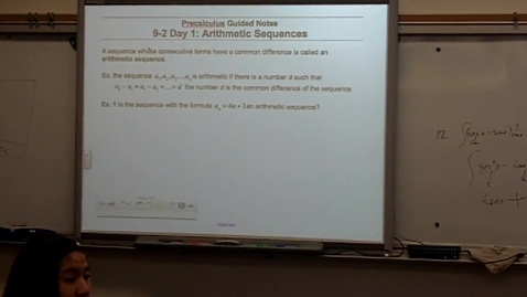 Thumbnail for entry Precalculus Section 9-2 day one