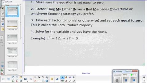 Thumbnail for entry Solving quadratics strategies Quadratic formula    12-3-14