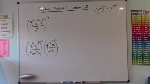Thumbnail for entry Saxon Algebra 1 - Lesson  53 - Power Rule for Exponents & Conversions of Volume