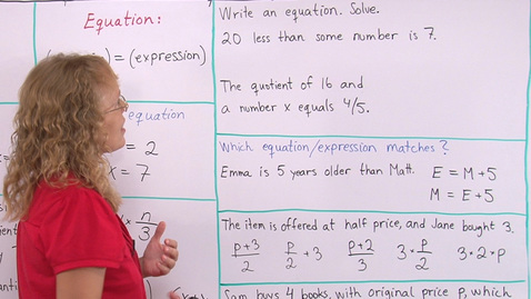 Thumbnail for entry Writing Expressions and Equations (pre-algebra)