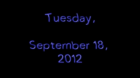 Thumbnail for entry Tuesday, September 18, 2012