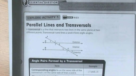 Thumbnail for entry 11.1 Parallel Lines Cut by a Transversal Part 1