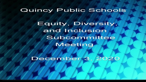 Thumbnail for entry Equity, Diversity, and Inclusion School Committee -  Subcommittee December 3, 2020