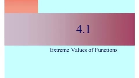 Thumbnail for entry AP. 4-1. Extreme value function