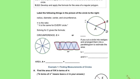 """Thumbnail for entry GeoB Lesson 9:2 """"Formulas for Circles and Regular Polygons"""""""