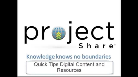 Thumbnail for entry Project Share Digital Content and Resources