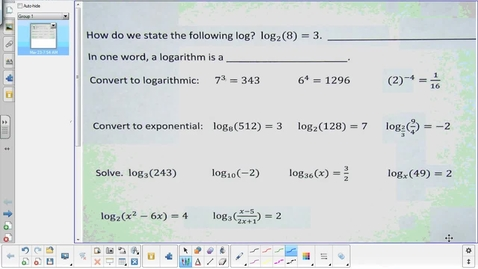 Thumbnail for entry Logarithm lesson 2 Properties pt 1    3-23-15