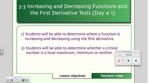 Thumbnail for entry 3-3 Increasing and Decreasing Functions and the First Derivative Test