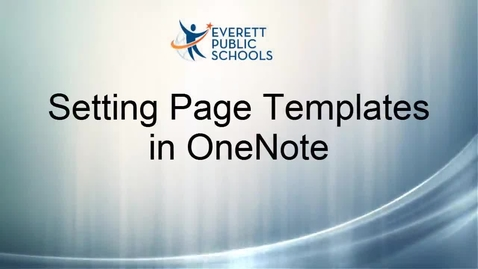 Thumbnail for entry OneNote: Setting Page Templates