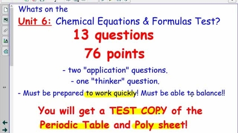 Thumbnail for entry Unit 6: Chemical Equations Review