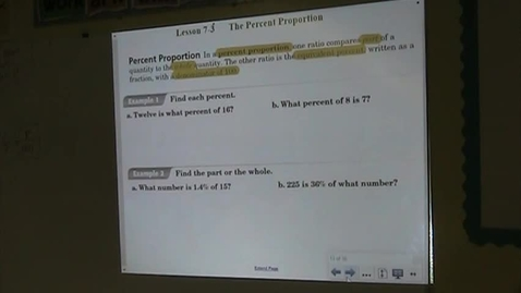Thumbnail for entry PA Lesson 7-3 The Percent Proportion