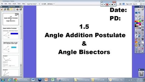 Thumbnail for entry 1.5 Angle Addition Postulate and Angle Bisectors