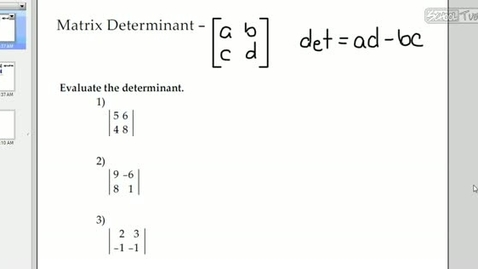 Thumbnail for entry Matrix Determinants and Inverses