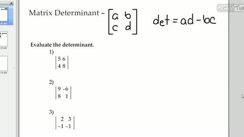 Thumbnail for entry Matrix Determinants and Inverses