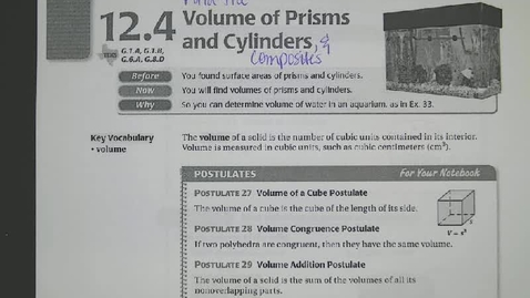 Thumbnail for entry Sect 12.4: Volume of Prisms and Cylinders Notes & Examples