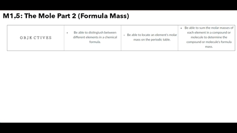 Thumbnail for entry Clip of M1.5 The Mole Part 2 (Formula Mass)