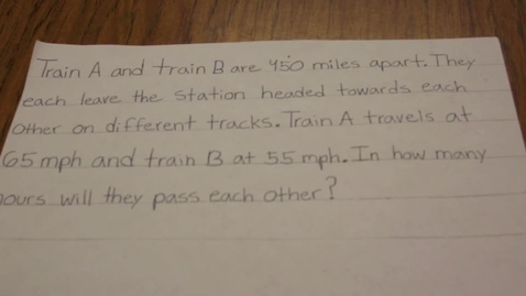 Thumbnail for entry Algebra 'Planes and Trains' Problem