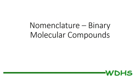 Thumbnail for entry Binary Molecular Compounds