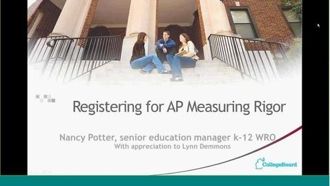 Thumbnail for entry Registering for AP — Measuring Rigor