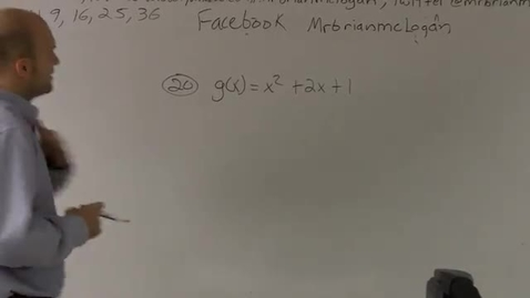 Thumbnail for entry 2.1 Finding the vertex from a quadratic equation by using the standard form