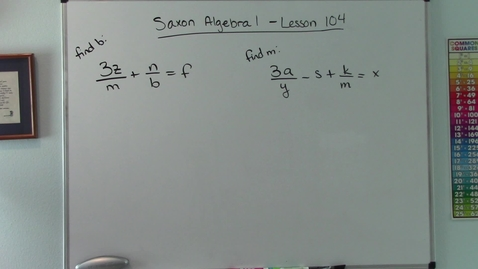 Thumbnail for entry Saxon Algebra 1 - Lesson  104 - Abstract Rational Equations