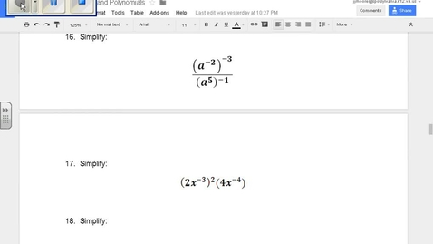 Thumbnail for entry SOL Review Polynomials Question 16 Properties of Exponents