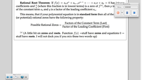 Thumbnail for entry 6-5 Theorems About Roots of Polynomials