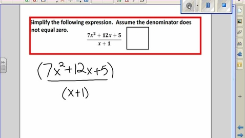Thumbnail for entry Dividing Polynomials by binomials example 2