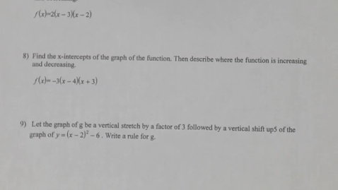 Thumbnail for entry Algebra II 3.1 - 3.2 TEST Review