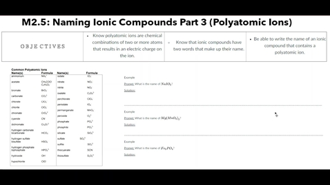 Thumbnail for entry Clip of M2.5 Naming Ionic Compounds Part 3 (Polyatomic Ions)