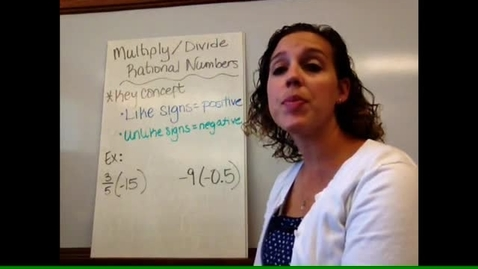 Thumbnail for entry Pre-Alg - Sect 1-9 & 1-10 Multiply/Divide Rational Numbers