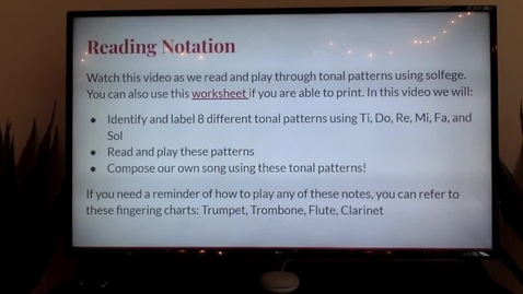 Thumbnail for entry 4th and 5th Grade Band Lessons- Reading notation