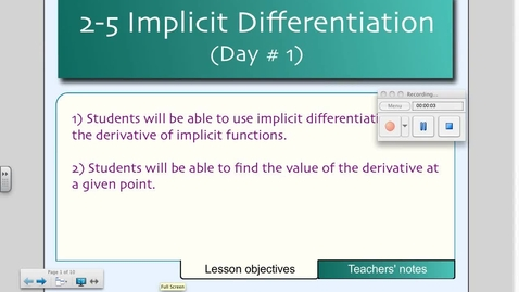 Thumbnail for entry 2-5 Implicit Differentiation