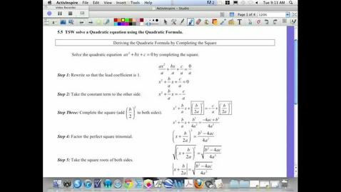 Thumbnail for entry 5.5 Using the Quadratic Formula to solve a quadratic equation