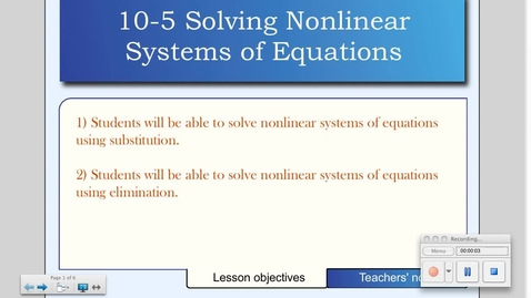 Thumbnail for entry 10-5 Solving Systems