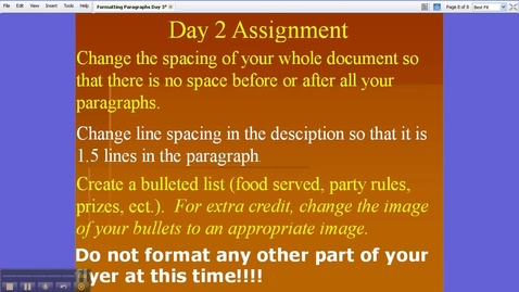 Thumbnail for entry Formatting Day 2 - Assignment