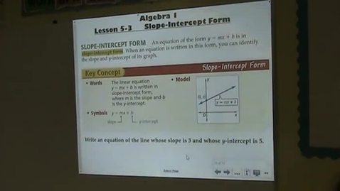 Thumbnail for entry Alg Lesson 5-3 Slope-Intercept Form