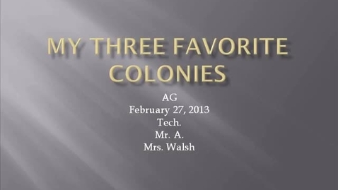 Thumbnail for entry AG walsh 13 Colonies