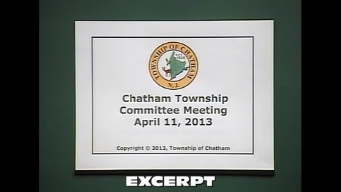 Thumbnail for entry Chatham Township Committee Meeting 4/11/13 - Budget Presentation