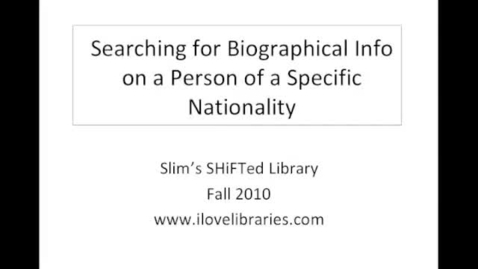 Thumbnail for entry Searching the Gale Databases for Biographical Information
