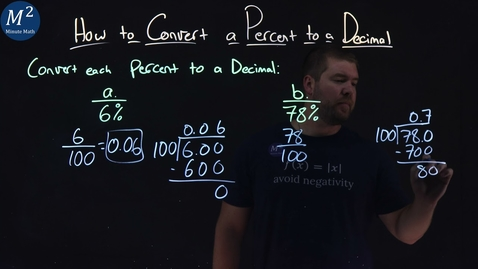 Thumbnail for entry How to Convert a Percent to a Decimal   Part 1 of 2   Convert 6% and 78% to a Decimal