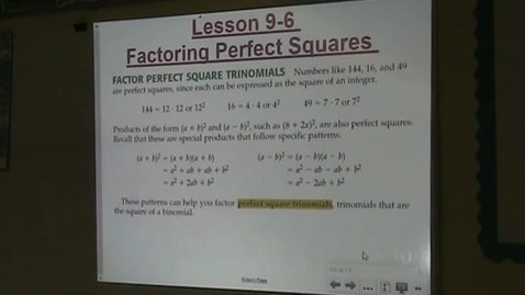 Thumbnail for entry Alg Lesson 9-6 Factoring & Solving Perfect Squares